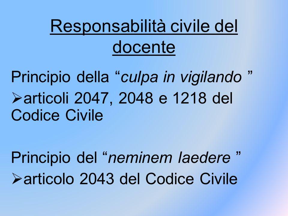 Responsabilità civile del docente