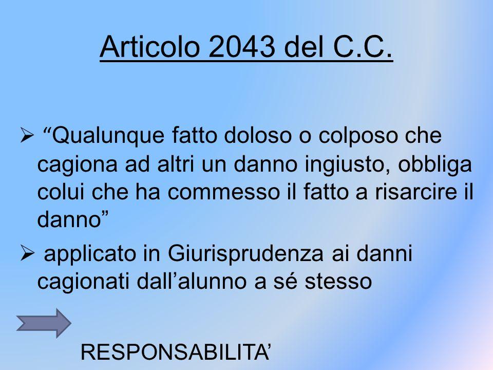Articolo 2043 del C.C. RESPONSABILITA' EXTRACONTRATTUALE