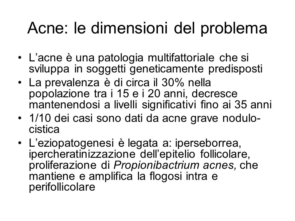 Acne: le dimensioni del problema