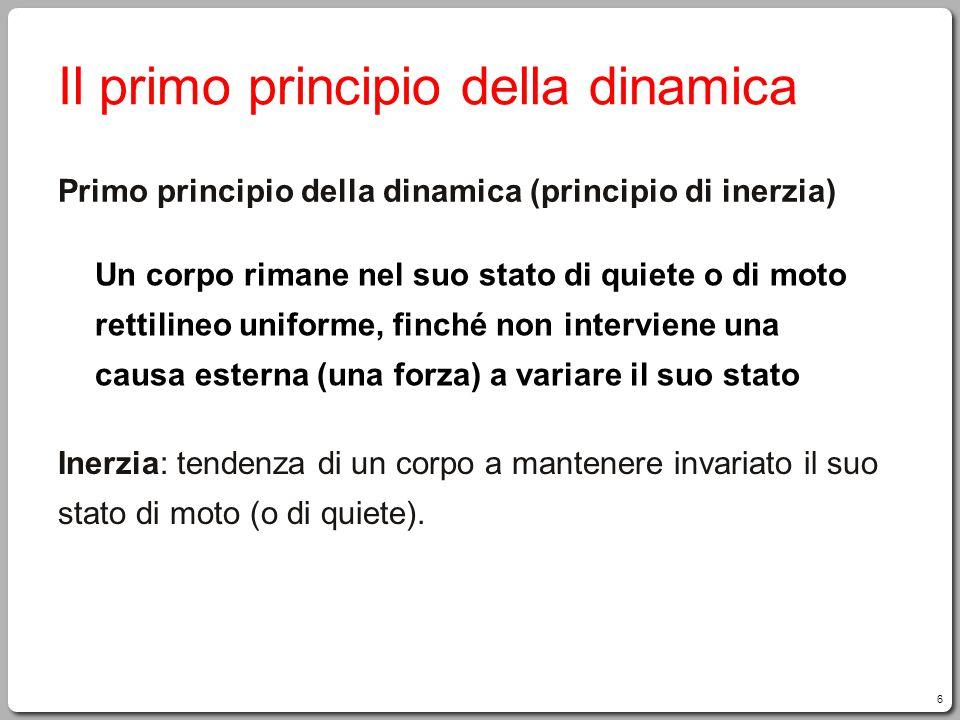 Il primo principio della dinamica