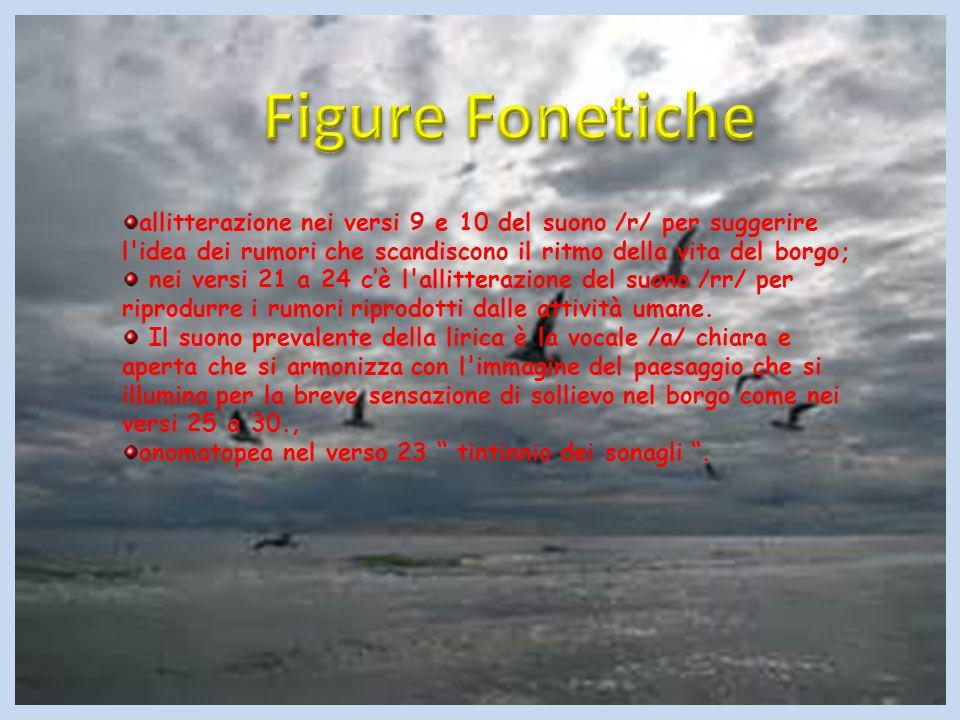 Figure Fonetiche allitterazione nei versi 9 e 10 del suono /r/ per suggerire l idea dei rumori che scandiscono il ritmo della vita del borgo;