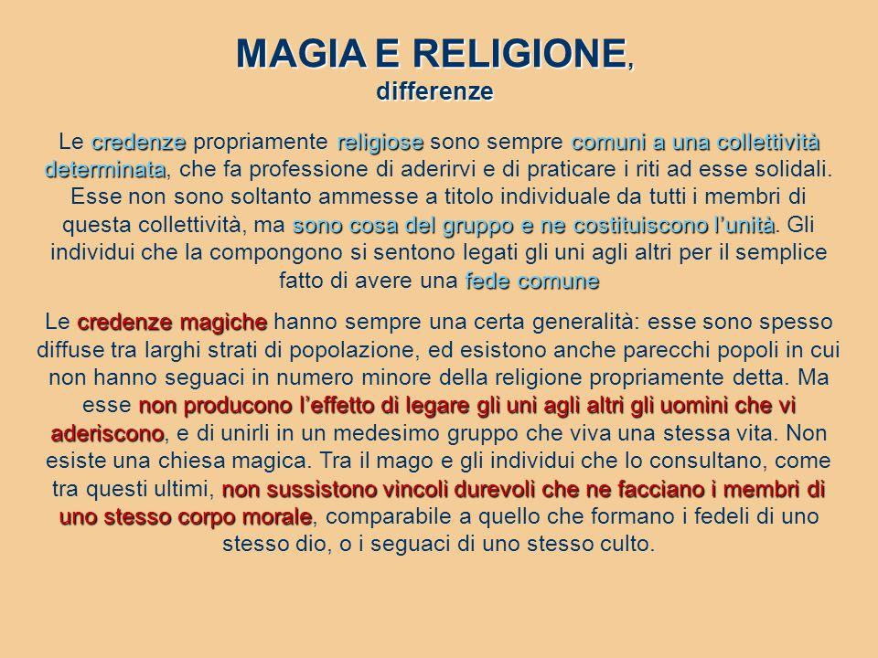 MAGIA E RELIGIONE, differenze