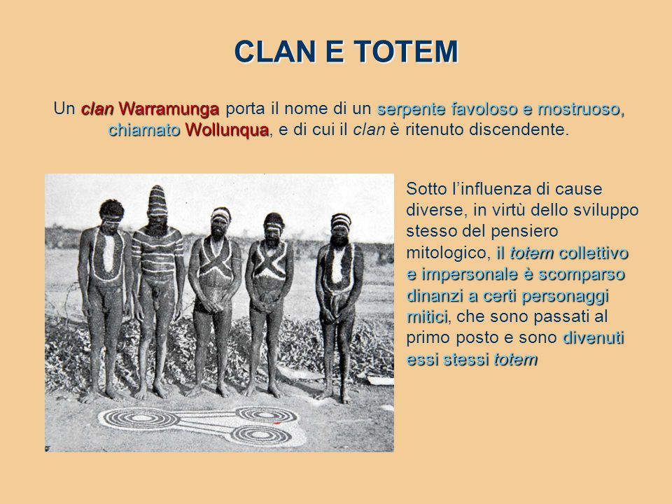CLAN E TOTEM Un clan Warramunga porta il nome di un serpente favoloso e mostruoso, chiamato Wollunqua, e di cui il clan è ritenuto discendente.