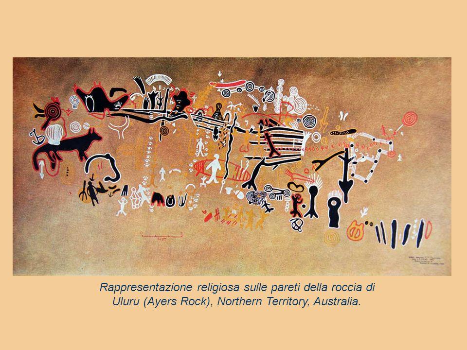 Rappresentazione religiosa sulle pareti della roccia di Uluru (Ayers Rock), Northern Territory, Australia.
