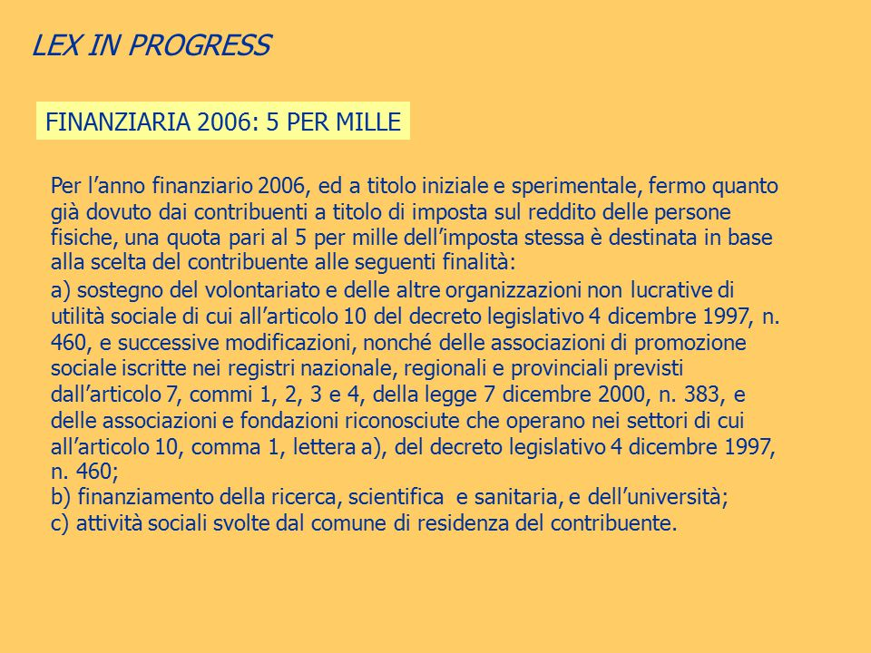 LEX IN PROGRESS FINANZIARIA 2006: 5 PER MILLE