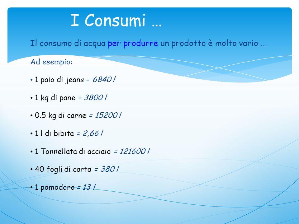 I Consumi … Il consumo di acqua per produrre un prodotto è molto vario … Ad esempio: 1 paio di jeans = 6840 l.