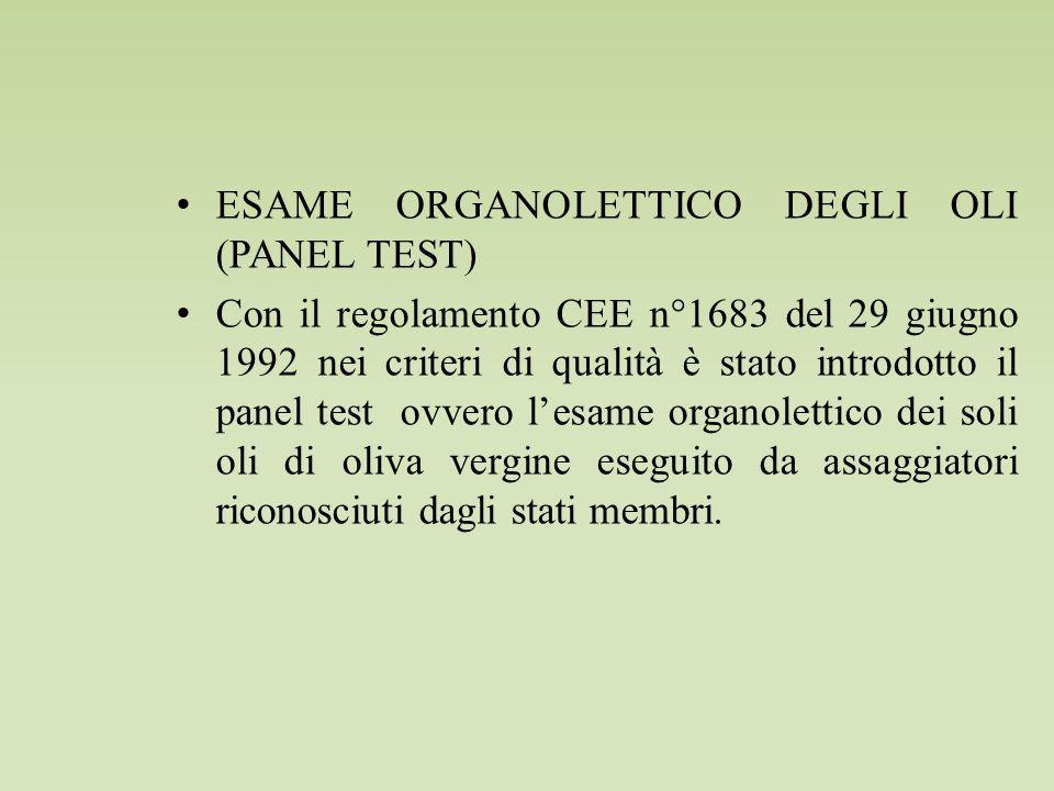 ESAME ORGANOLETTICO DEGLI OLI (PANEL TEST)