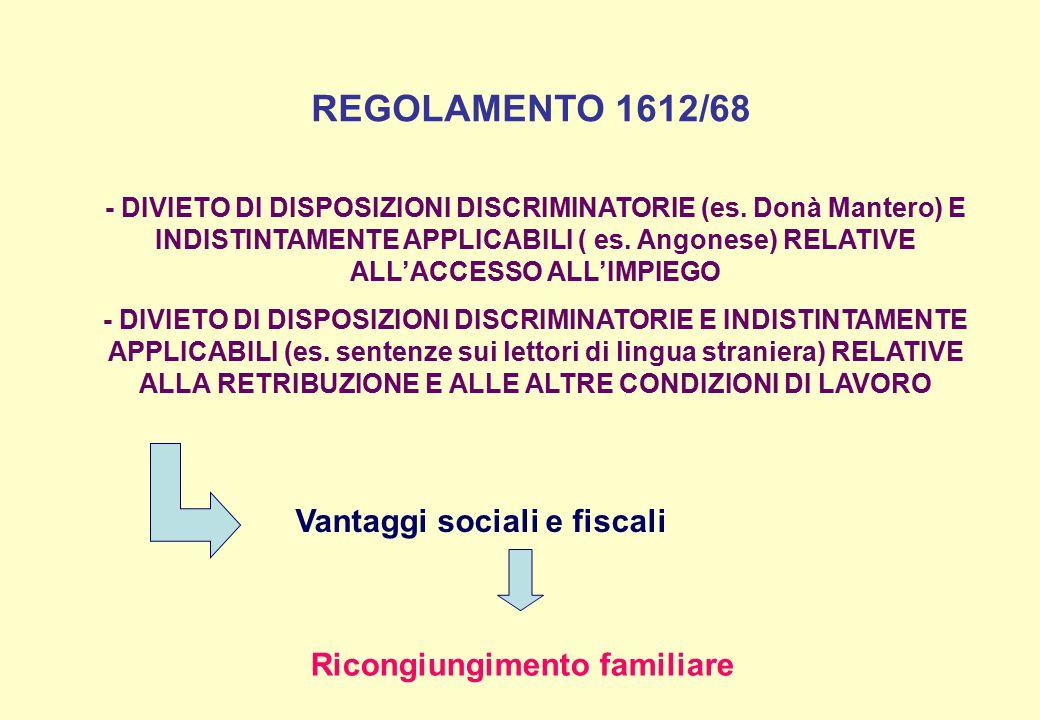 REGOLAMENTO 1612/68 Vantaggi sociali e fiscali