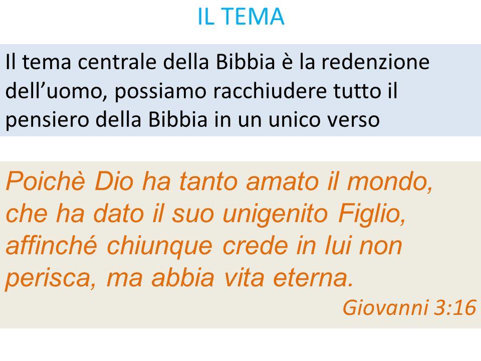 IL TEMA Il tema centrale della Bibbia è la redenzione dell'uomo, possiamo racchiudere tutto il pensiero della Bibbia in un unico verso.