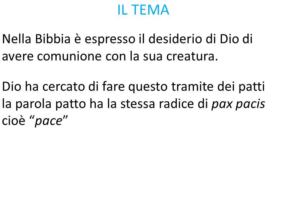 IL TEMA Nella Bibbia è espresso il desiderio di Dio di avere comunione con la sua creatura. Dio ha cercato di fare questo tramite dei patti.