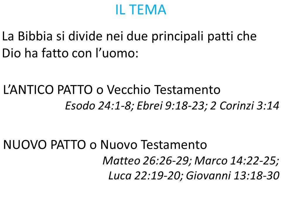 IL TEMA La Bibbia si divide nei due principali patti che Dio ha fatto con l'uomo: L'ANTICO PATTO o Vecchio Testamento.