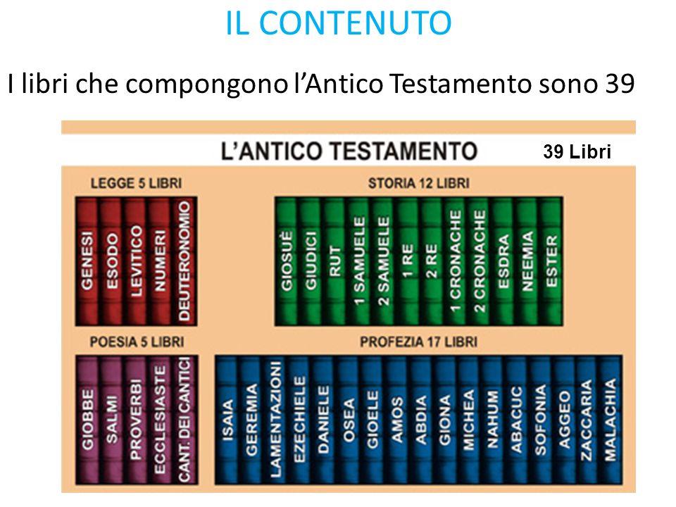 IL CONTENUTO I libri che compongono l'Antico Testamento sono 39