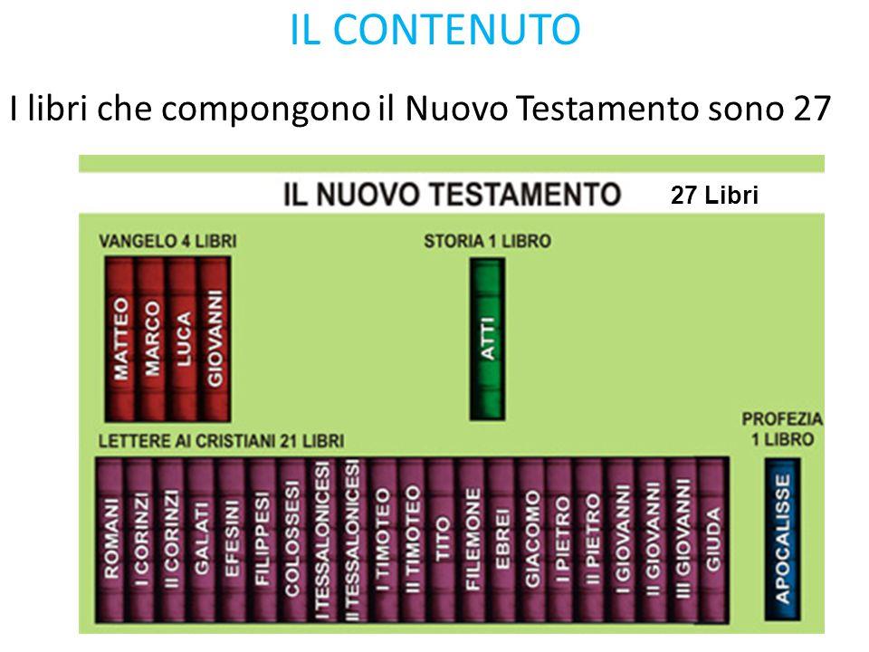 IL CONTENUTO I libri che compongono il Nuovo Testamento sono 27