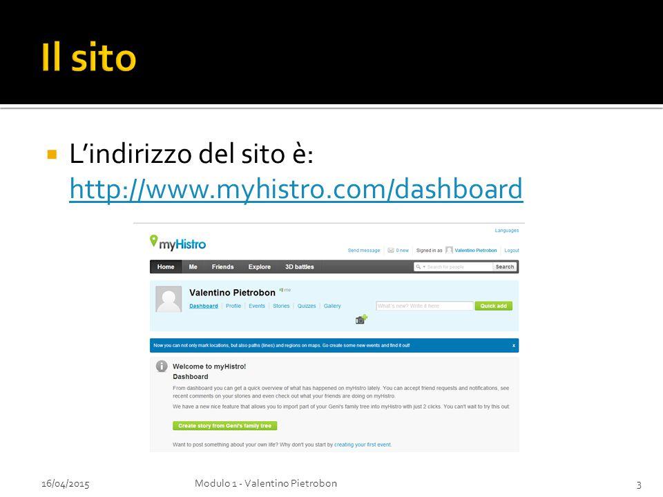 Il sito L'indirizzo del sito è: http://www.myhistro.com/dashboard