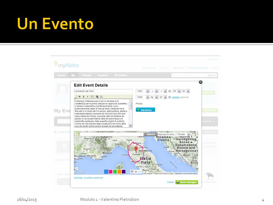 Un Evento 16/04/2015 Modulo 1 - Valentino Pietrobon
