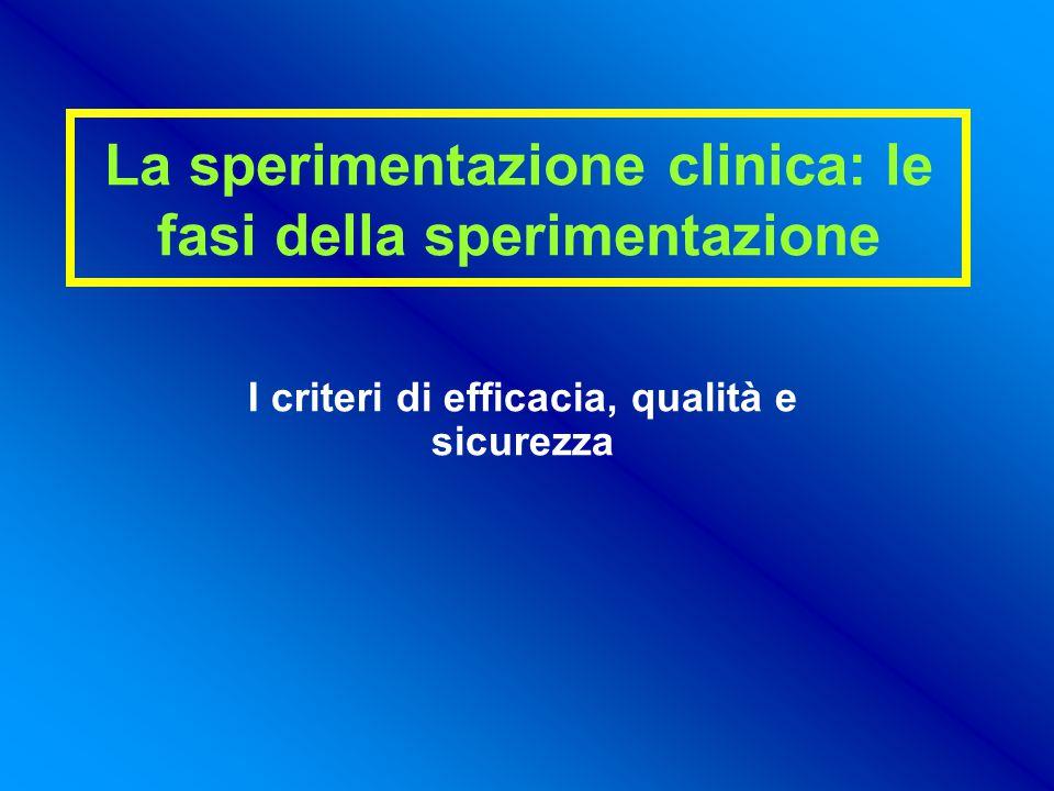 La sperimentazione clinica: le fasi della sperimentazione