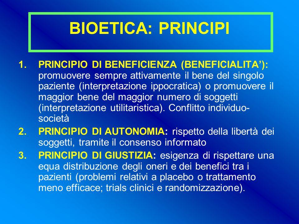 BIOETICA: PRINCIPI