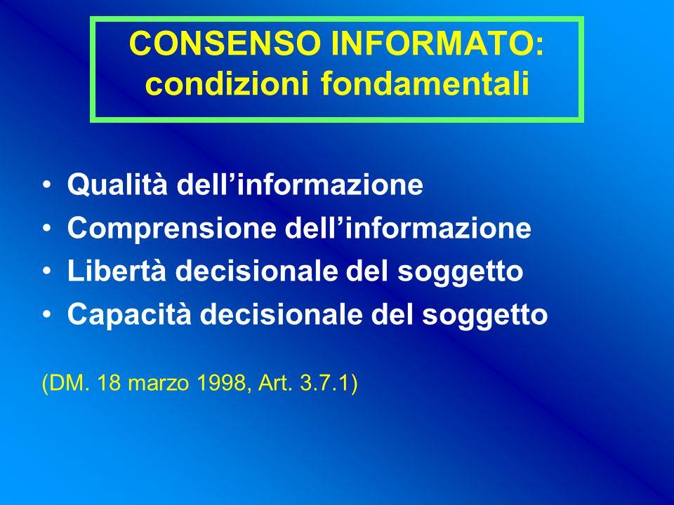 CONSENSO INFORMATO: condizioni fondamentali