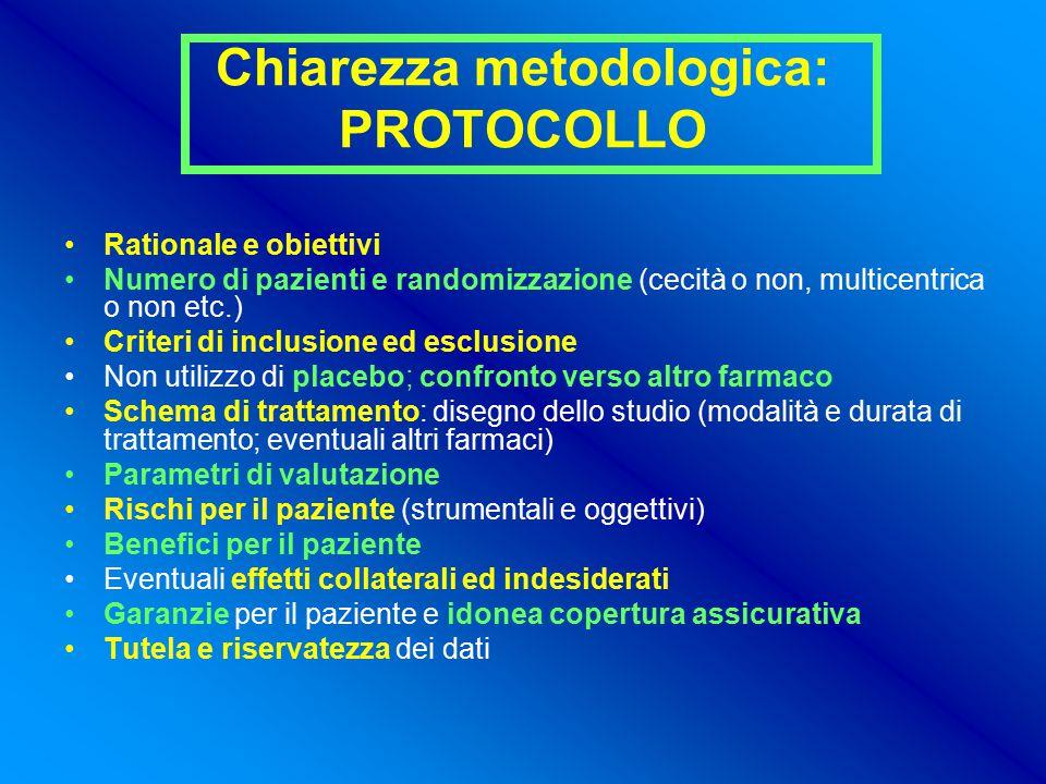 Chiarezza metodologica: PROTOCOLLO