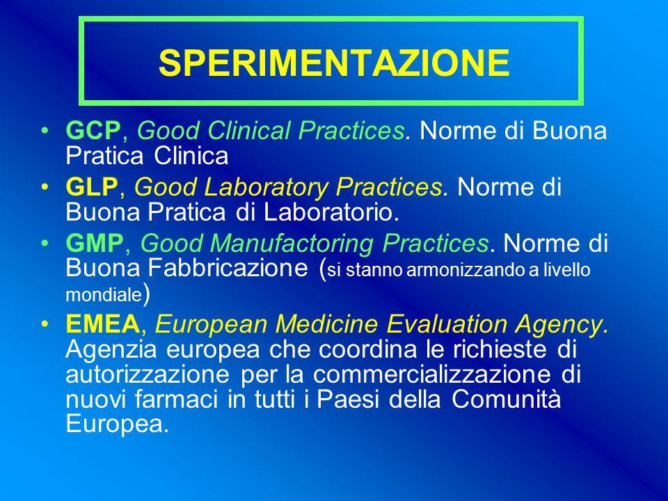 SPERIMENTAZIONE GCP, Good Clinical Practices. Norme di Buona Pratica Clinica. GLP, Good Laboratory Practices. Norme di Buona Pratica di Laboratorio.