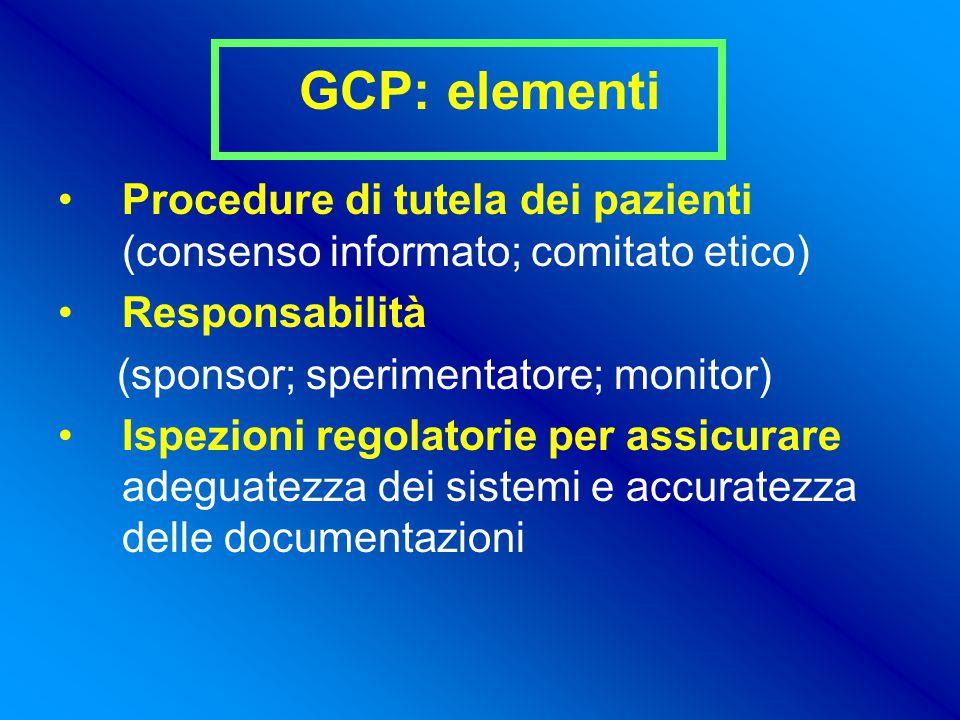 GCP: elementi Procedure di tutela dei pazienti (consenso informato; comitato etico) Responsabilità.