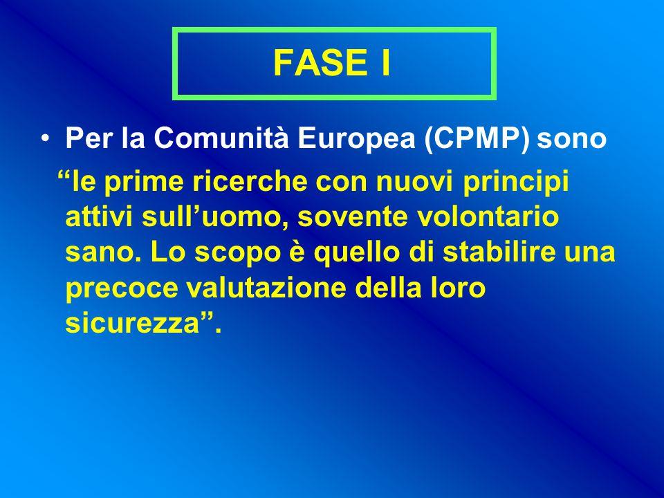 FASE I Per la Comunità Europea (CPMP) sono