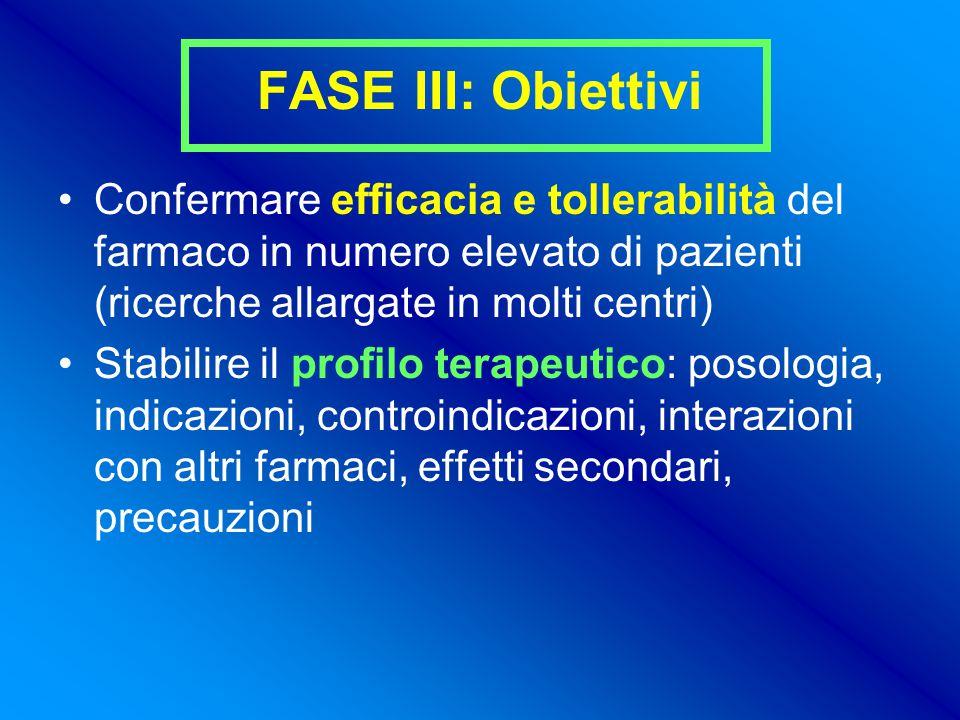 FASE III: Obiettivi Confermare efficacia e tollerabilità del farmaco in numero elevato di pazienti (ricerche allargate in molti centri)