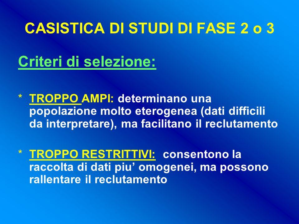 CASISTICA DI STUDI DI FASE 2 o 3