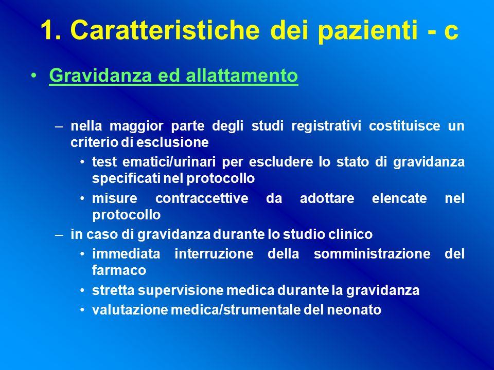 1. Caratteristiche dei pazienti - c