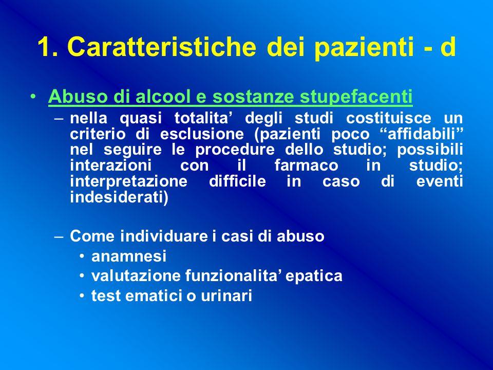 1. Caratteristiche dei pazienti - d