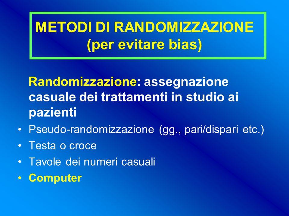 METODI DI RANDOMIZZAZIONE (per evitare bias)