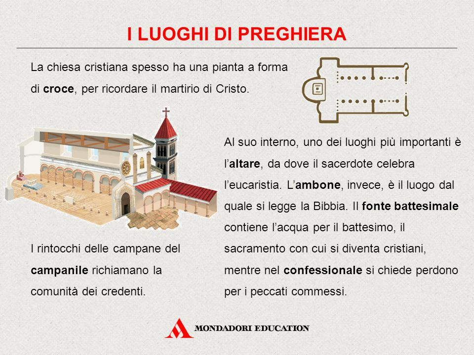I LUOGHI DI PREGHIERA La chiesa cristiana spesso ha una pianta a forma di croce, per ricordare il martirio di Cristo.