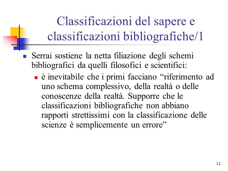Classificazioni del sapere e classificazioni bibliografiche/1