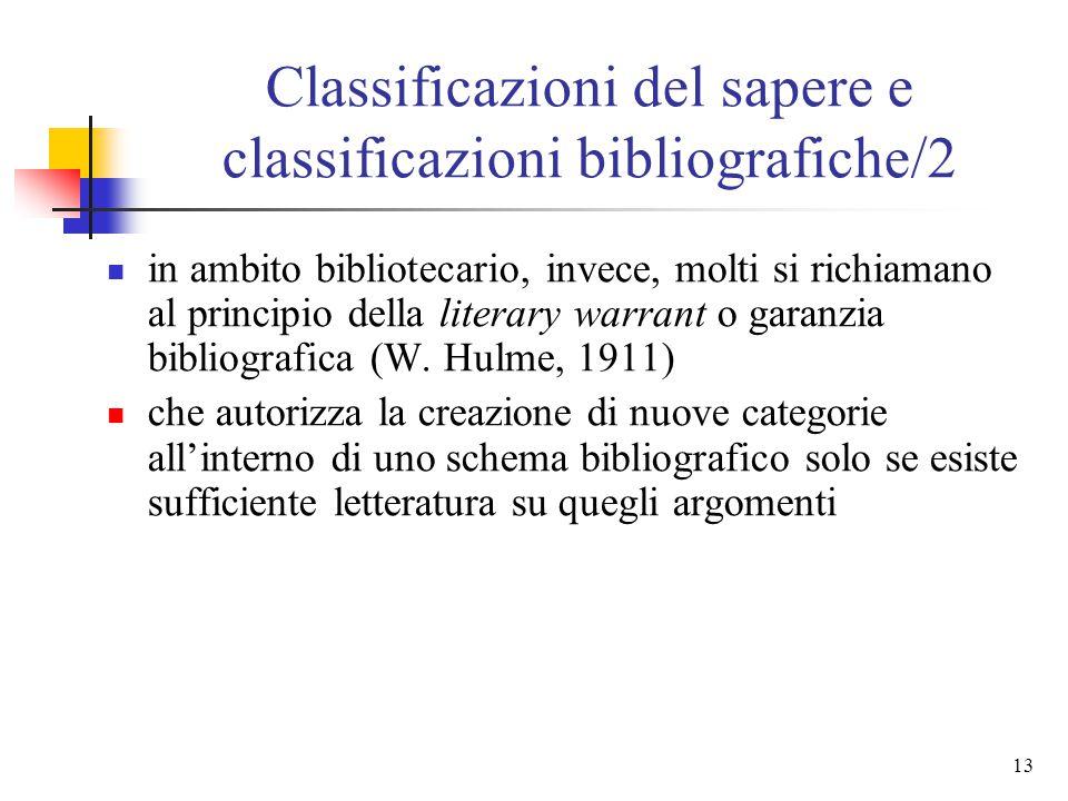 Classificazioni del sapere e classificazioni bibliografiche/2