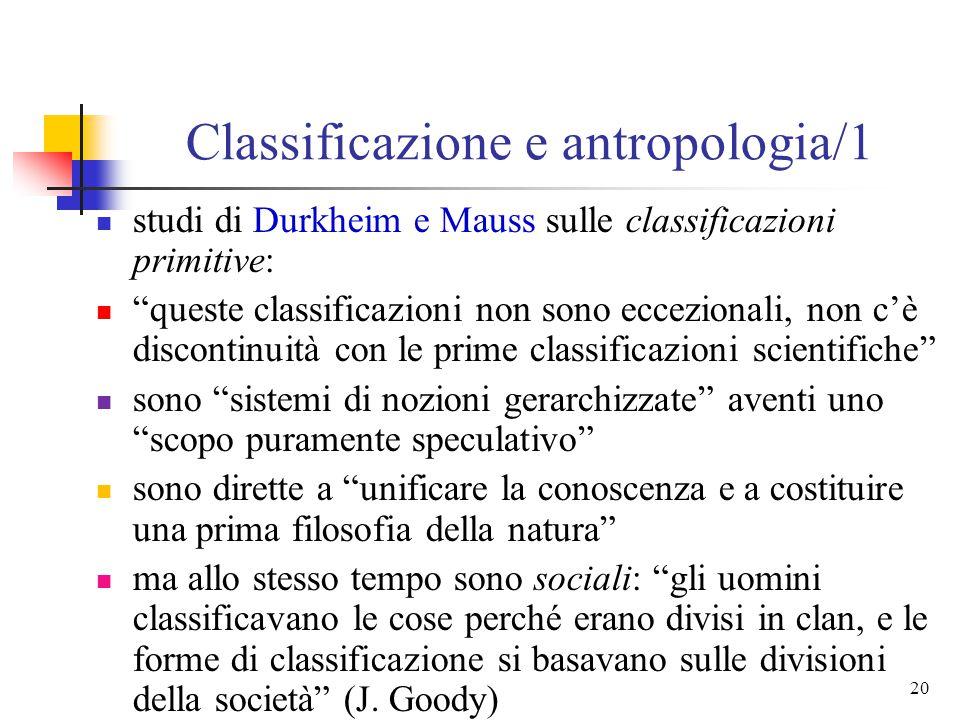 Classificazione e antropologia/1
