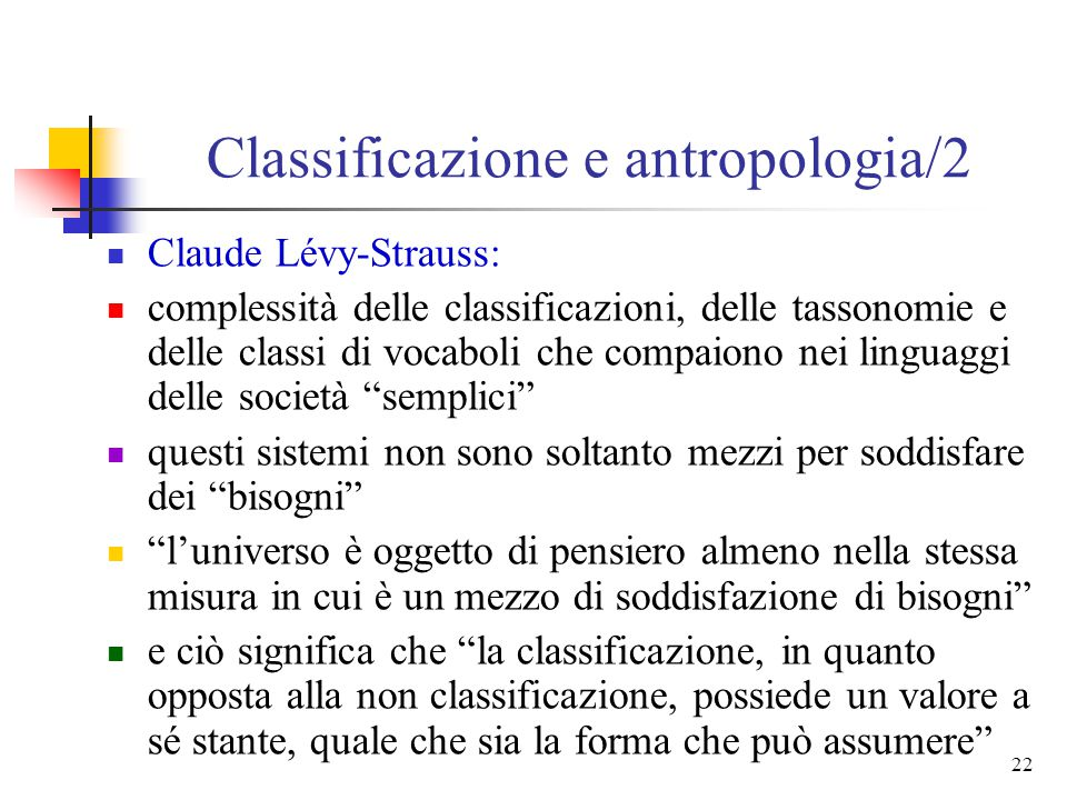 Classificazione e antropologia/2