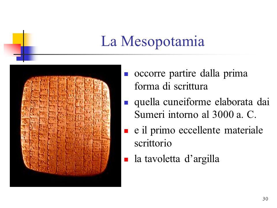 La Mesopotamia occorre partire dalla prima forma di scrittura