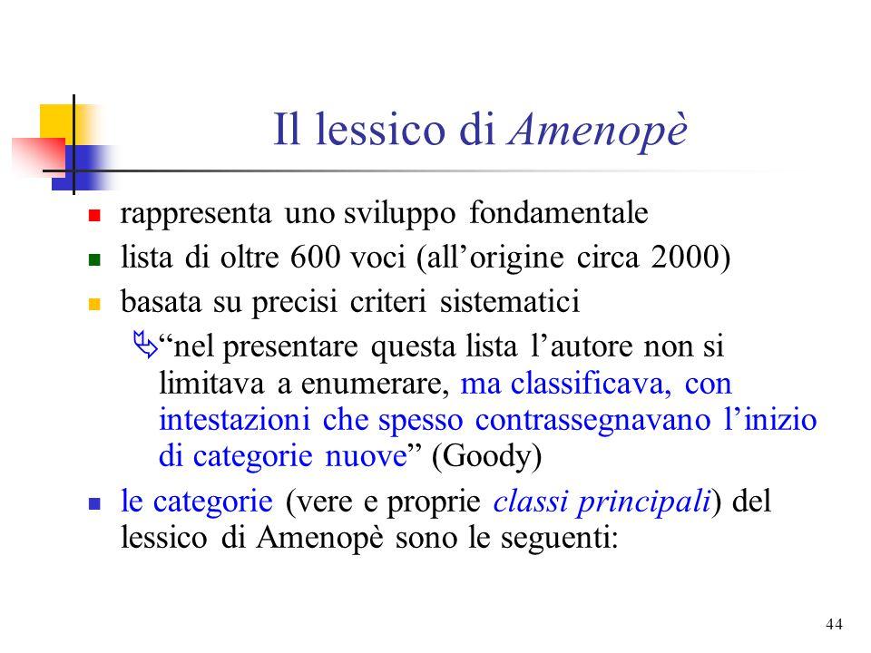 Il lessico di Amenopè rappresenta uno sviluppo fondamentale
