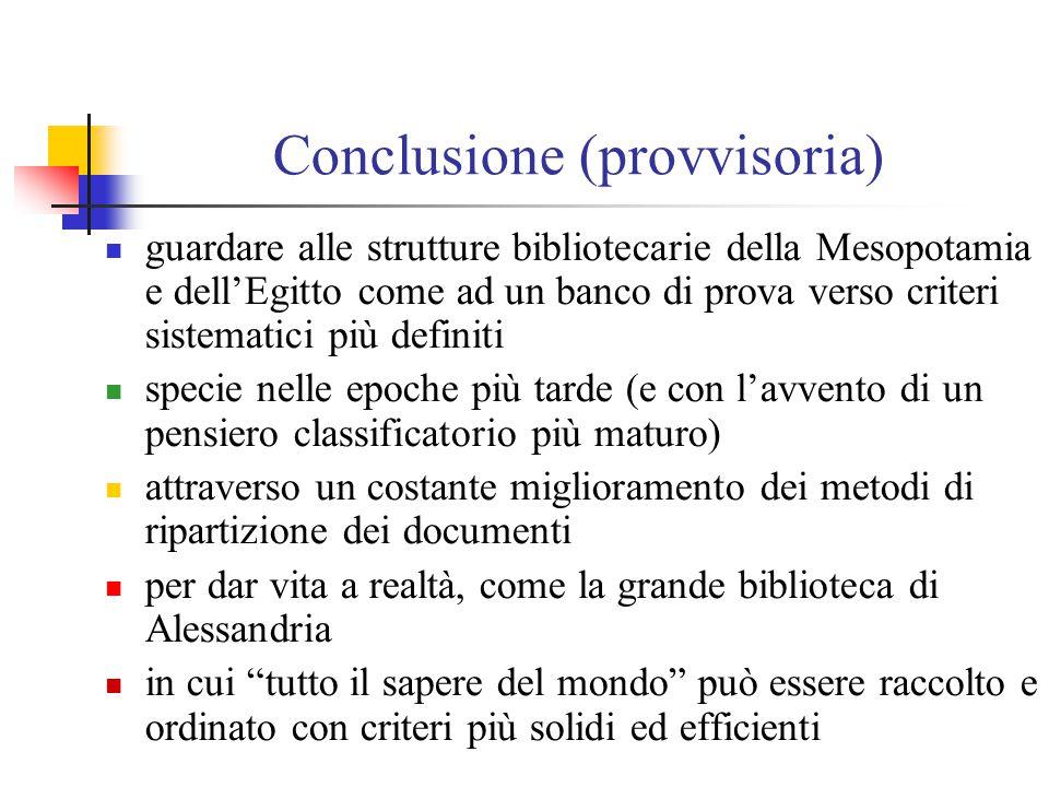 Conclusione (provvisoria)