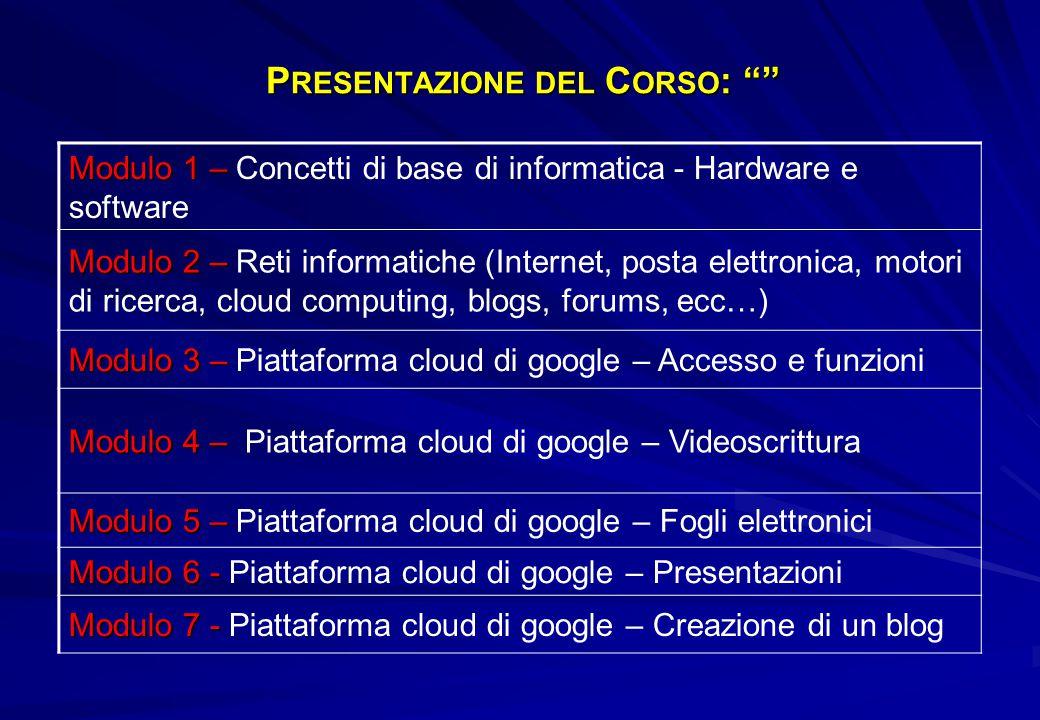 Presentazione del Corso: