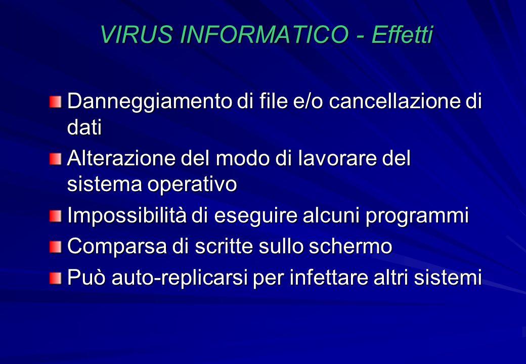 VIRUS INFORMATICO - Effetti