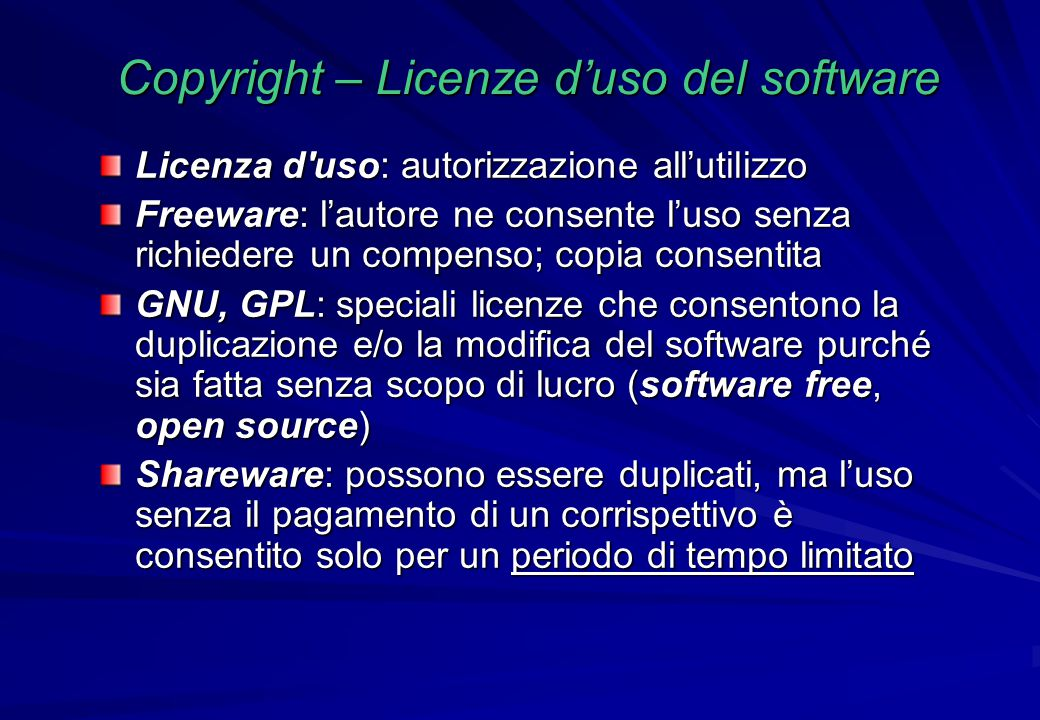 Copyright – Licenze d'uso del software