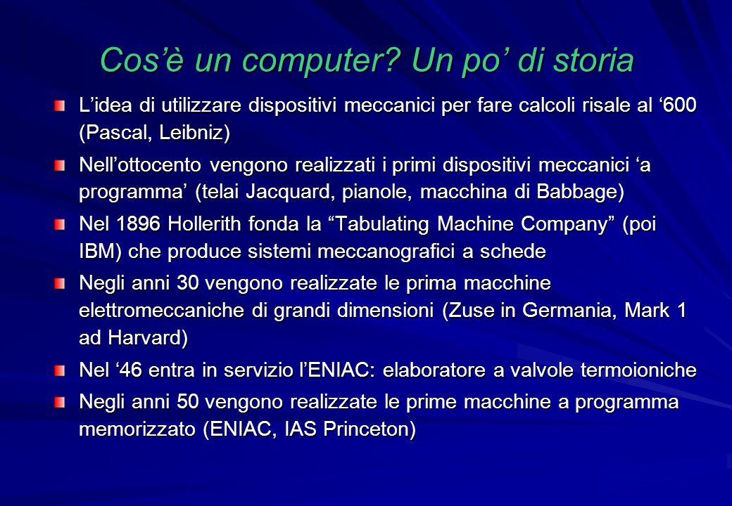 Cos'è un computer Un po' di storia