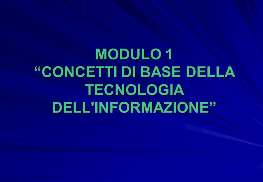 MODULO 1 CONCETTI DI BASE DELLA TECNOLOGIA DELL INFORMAZIONE