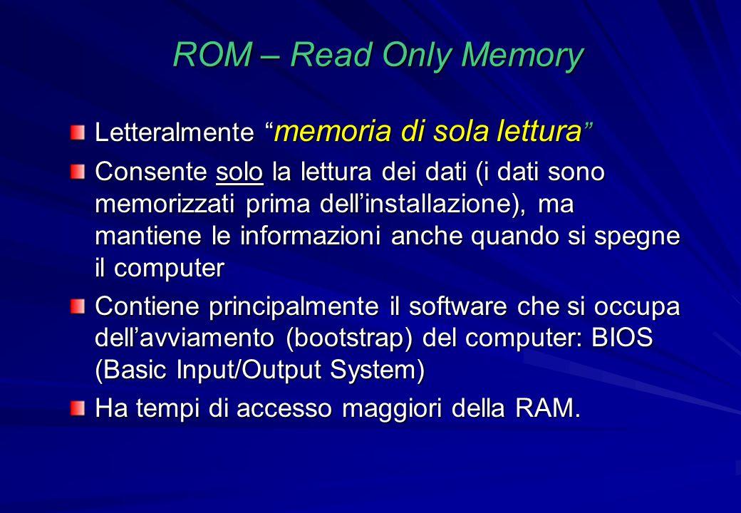 ROM – Read Only Memory Letteralmente memoria di sola lettura