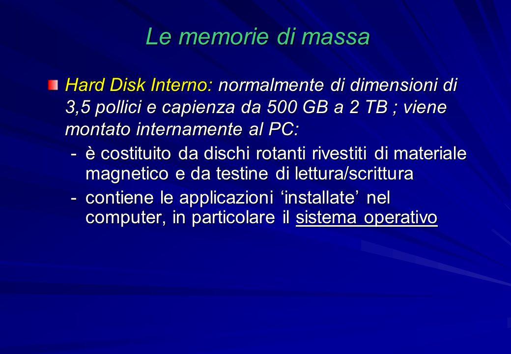 Le memorie di massa Hard Disk Interno: normalmente di dimensioni di 3,5 pollici e capienza da 500 GB a 2 TB ; viene montato internamente al PC: