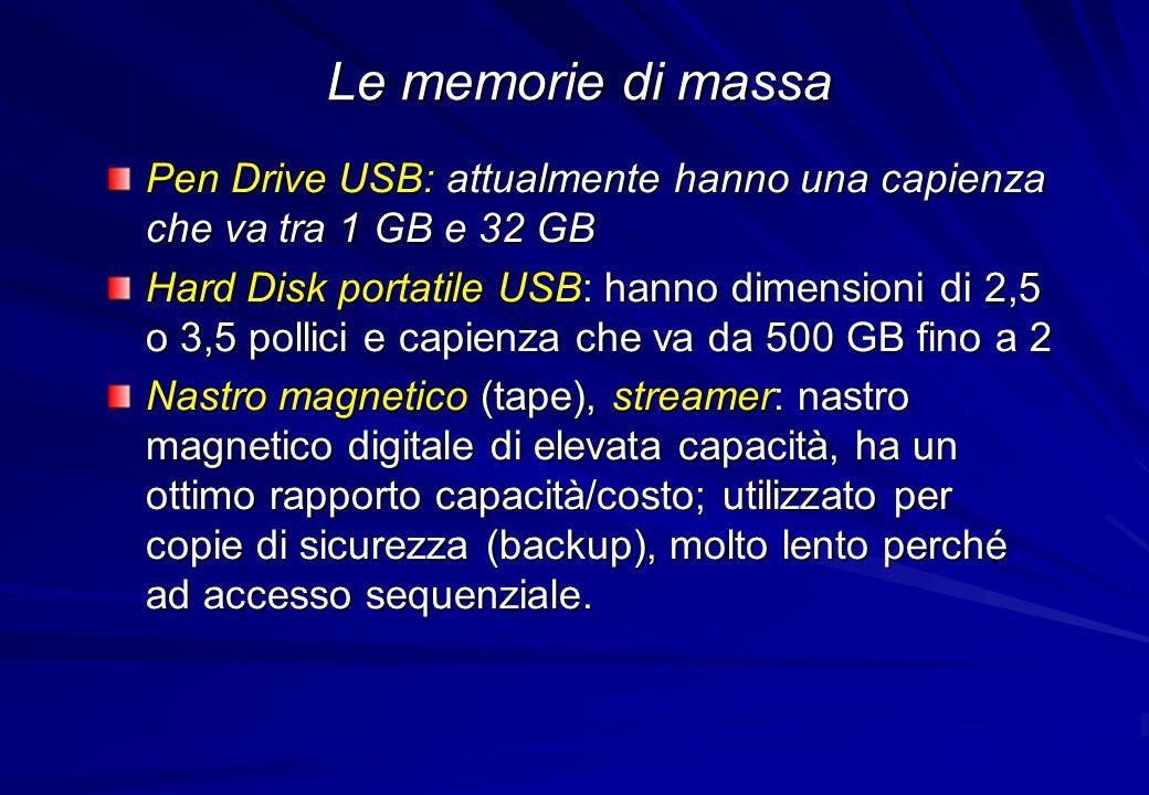 Le memorie di massa Pen Drive USB: attualmente hanno una capienza che va tra 1 GB e 32 GB.