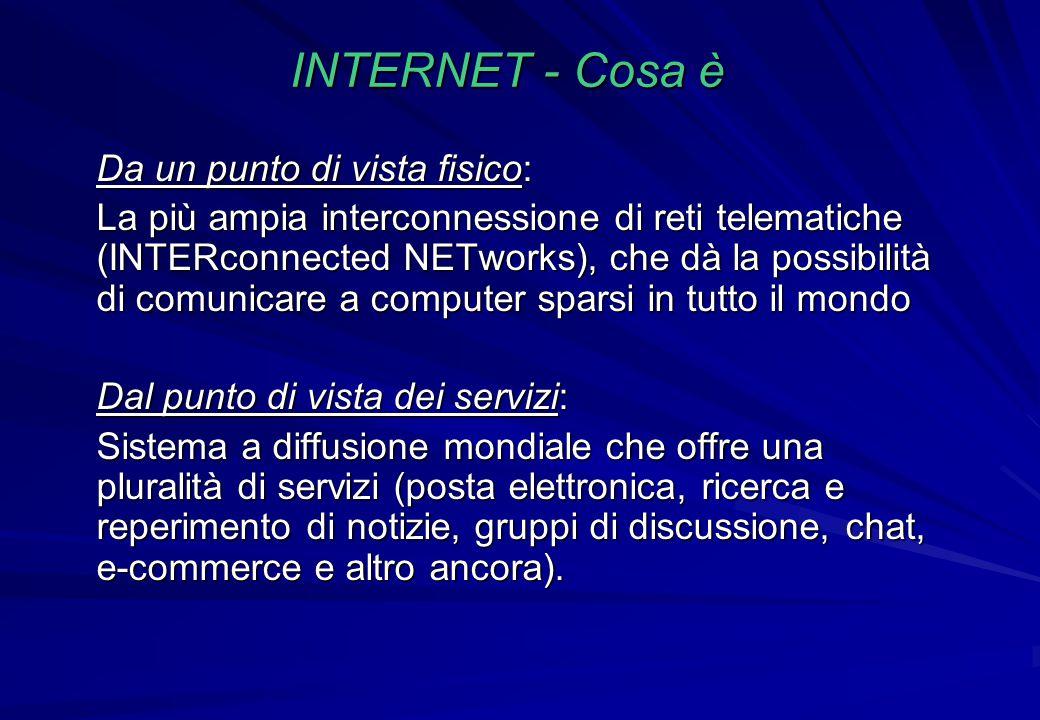 INTERNET - Cosa è Da un punto di vista fisico: