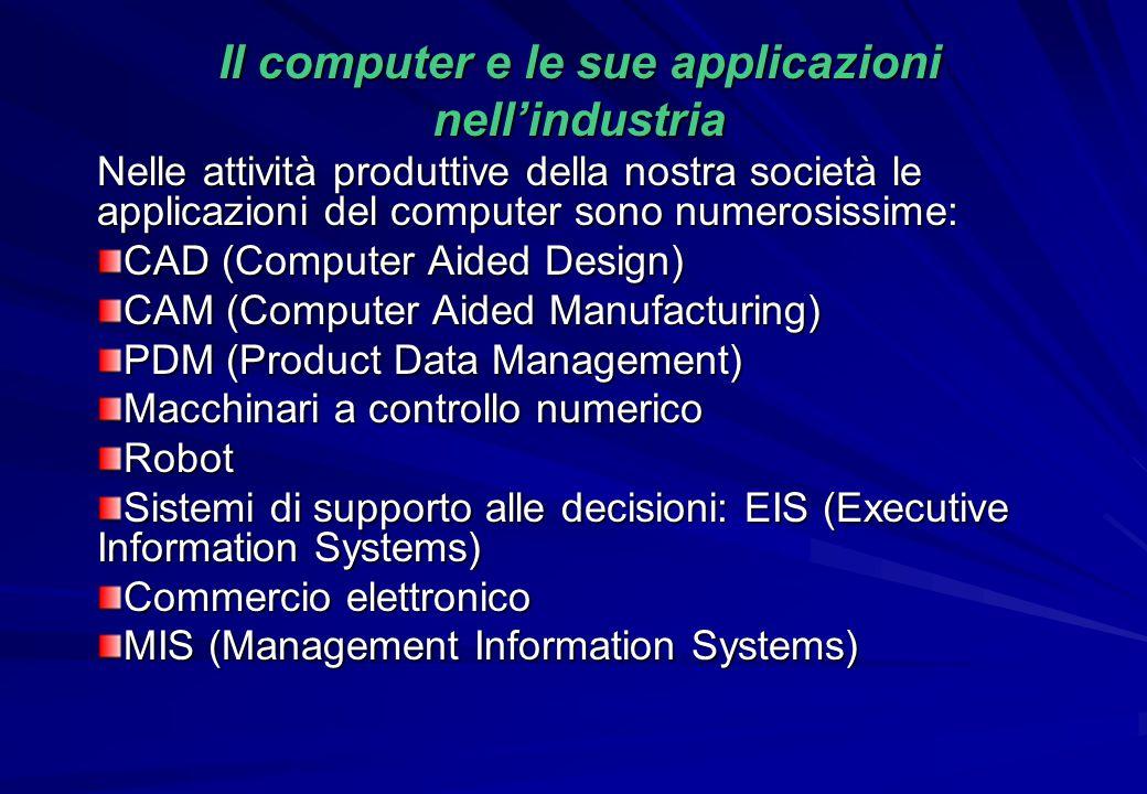 Il computer e le sue applicazioni nell'industria