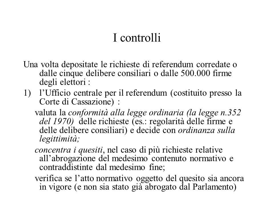 I controlli Una volta depositate le richieste di referendum corredate o dalle cinque delibere consiliari o dalle 500.000 firme degli elettori :
